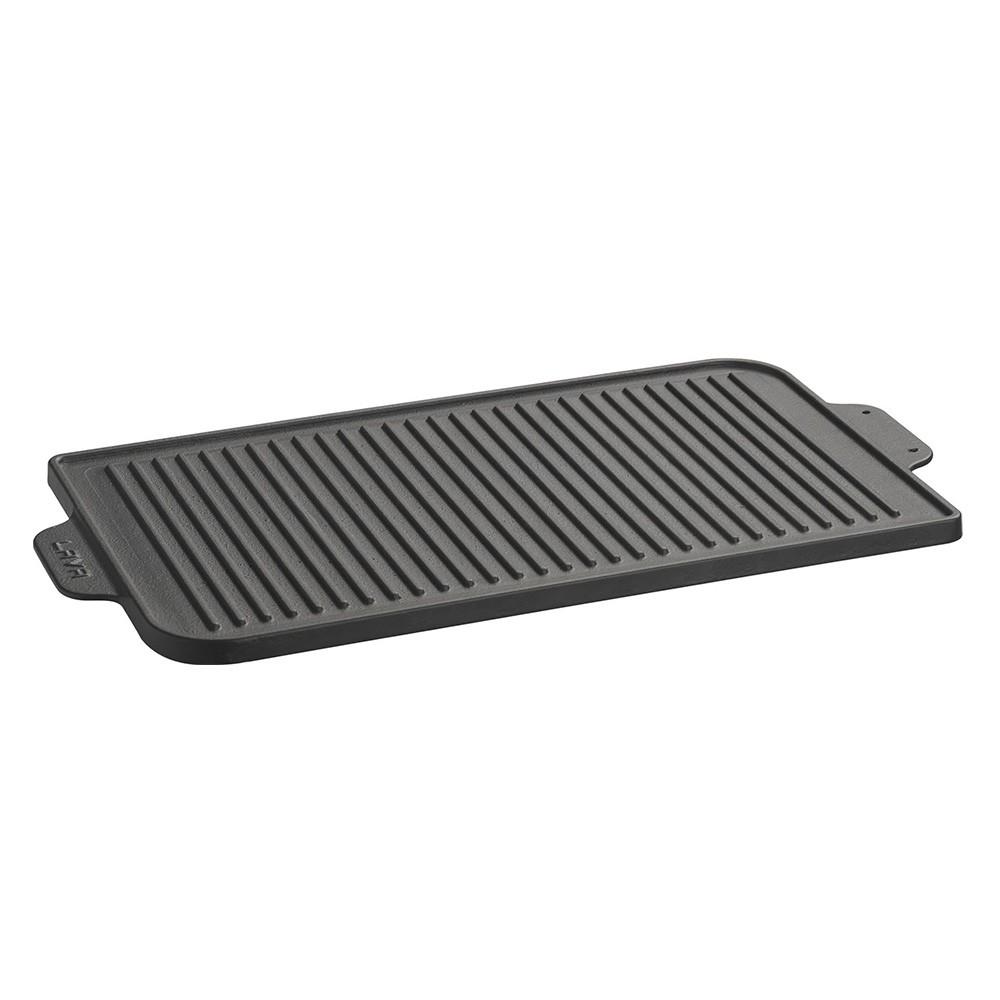 Plotýnka grilovací litinová 26x47 cm oboustranná černá, LAVA